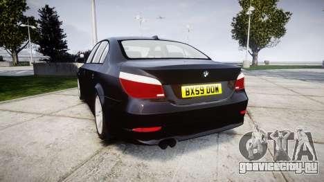 BMW 525d E60 2009 Police [ELS] Unmarked для GTA 4 вид сзади слева