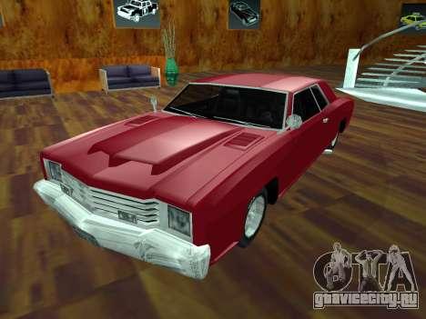 Buccaneer Turbo для GTA San Andreas вид изнутри