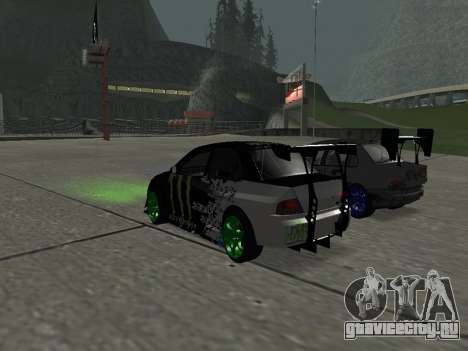 Mitsubishi Lancer Evo 9 Monster Energy для GTA San Andreas вид сзади слева