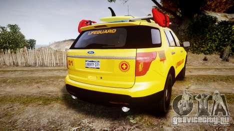 Ford Explorer 2013 Lifeguard Beach [ELS] для GTA 4 вид сзади слева