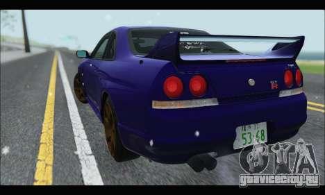 Nissan Skyline R33 для GTA San Andreas вид сзади слева