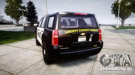 Chevrolet Tahoe 2015 County Sheriff [ELS] для GTA 4 вид сзади слева