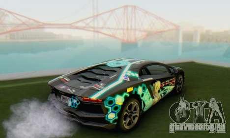 Itasha PJ from Lamborghini Aventador LP700-4 для GTA San Andreas вид слева