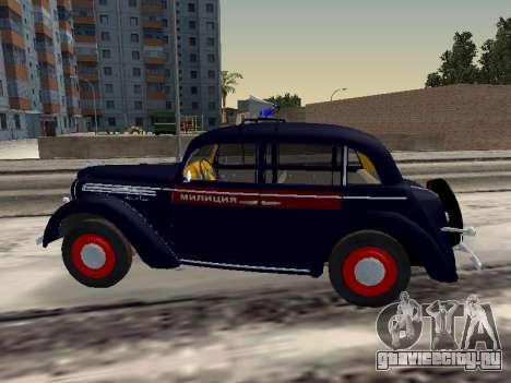 Москвич 400 Милиция для GTA San Andreas вид слева
