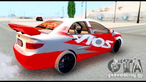 Toyota Vios TRD Racing для GTA San Andreas вид справа