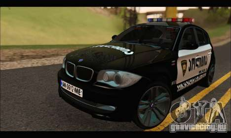 BMW 120i GEO Police для GTA San Andreas
