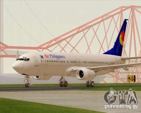 Boeing 737-800 Air Philippines для GTA San Andreas вид сзади слева
