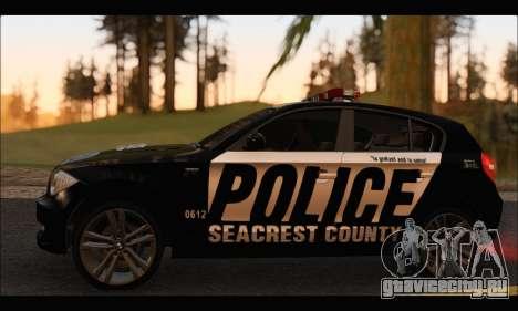 BMW 120i USA Police для GTA San Andreas вид сзади слева