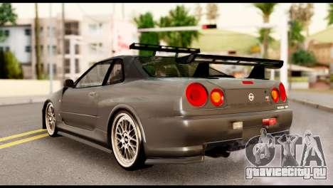 Nissan Skyline R34 Z для GTA San Andreas вид слева