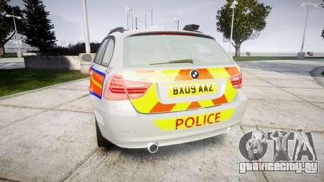 BMW 325d E91 2009 Metropolitan Police [ELS] для GTA 4 вид сзади слева