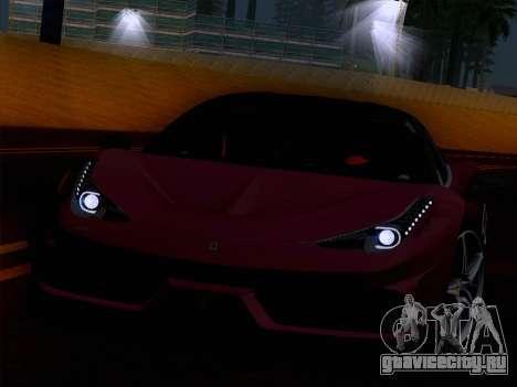 Ferrari 458 Special для GTA San Andreas вид сзади