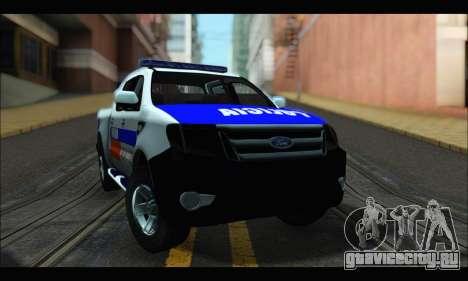 Ford Ranger P.B.A 2015 для GTA San Andreas вид сзади слева