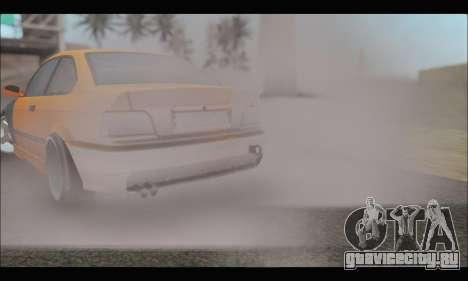 BMW e36 Drift для GTA San Andreas вид изнутри