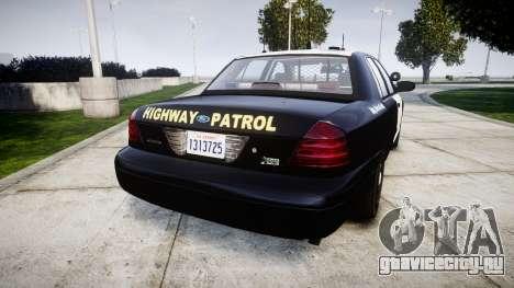 Ford Crown Victoria Highway Patrol [ELS] Slickto для GTA 4 вид сзади слева