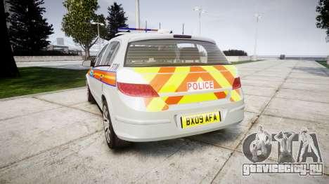 Vauxhall Astra 2009 Police [ELS] 911EP Galaxy для GTA 4 вид сзади слева