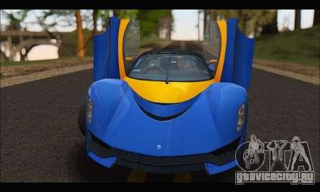 Grotti Turismo R v2 (GTA V) для GTA San Andreas вид сзади