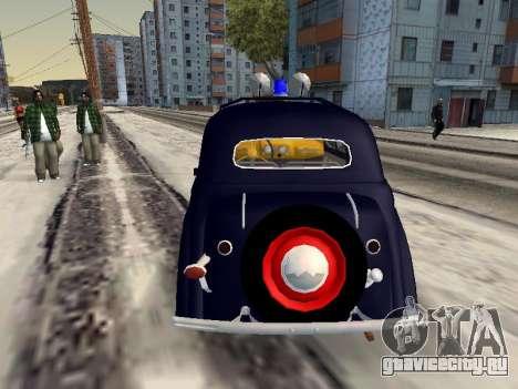 Москвич 400 Милиция для GTA San Andreas вид сзади слева