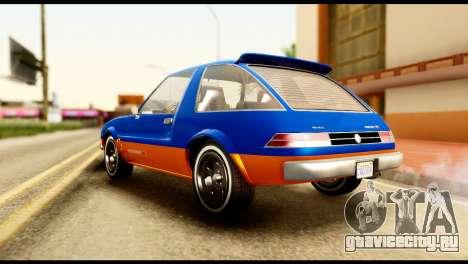 Declasse Rhapsody from GTA 5 для GTA San Andreas вид сзади слева