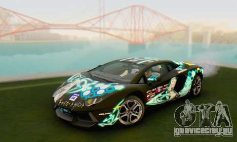 Itasha PJ from Lamborghini Aventador LP700-4 для GTA San Andreas вид сзади слева