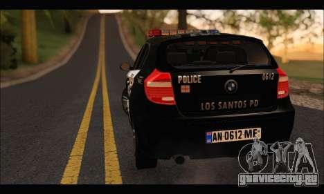 BMW 120i USA Police для GTA San Andreas вид сзади