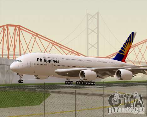 Airbus A380-800 Philippine Airlines для GTA San Andreas вид слева