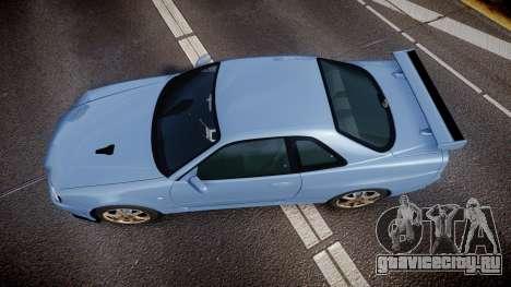 Nissan Skyline R34 GT-R V.specII 2002 для GTA 4 вид справа