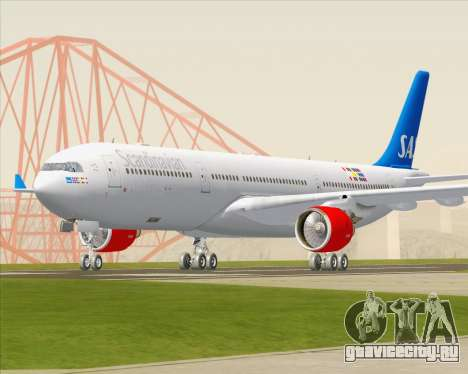 Airbus A330-300 Scandinavian Airlines для GTA San Andreas вид сзади