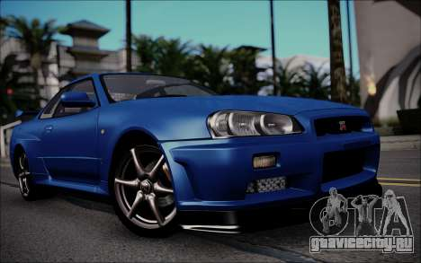 Nissan Skyline GT-R V Spec II 2002 для GTA San Andreas вид слева