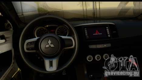 Mitsubishi Lancer X Stock для GTA San Andreas вид сзади