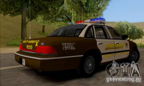 Ford Crown Victoria 1994 Sheriff для GTA San Andreas вид справа