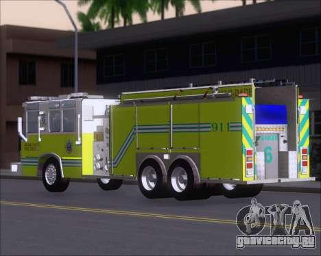 Pierce Quantum Miami Dade FD Tanker 6 для GTA San Andreas вид сзади слева