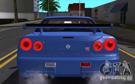 Nissan Skyline GT-R V Spec II 2002 для GTA San Andreas двигатель