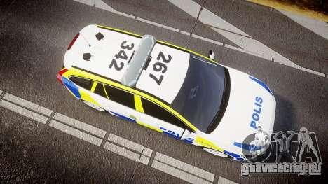 Volvo V60 Swedish Police [ELS] для GTA 4 вид справа