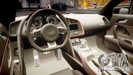 Audi R8 E-Tron 2014 для GTA 4 вид изнутри