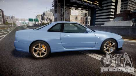 Nissan Skyline R34 GT-R V.specII 2002 для GTA 4 вид слева