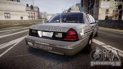 Ford Crown Victoria Sheriff K-9 Unit [ELS] для GTA 4 вид сзади слева