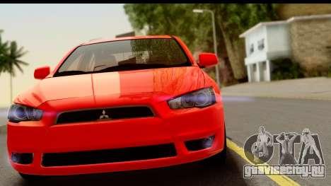 Mitsubishi Lancer X Stock для GTA San Andreas вид сзади слева