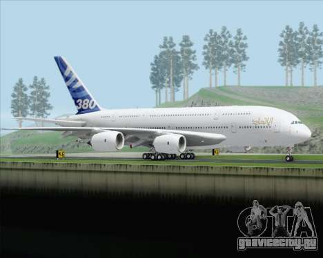 Airbus A380-800 F-WWDD Etihad Titles для GTA San Andreas вид справа