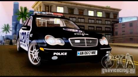Mercedes-Benz C32 AMG Police для GTA San Andreas вид слева