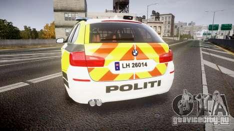BMW 530d F11 Norwegian Police [ELS] для GTA 4 вид сзади слева