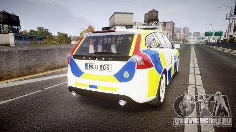 Volvo V60 Swedish Police [ELS] для GTA 4 вид сзади слева