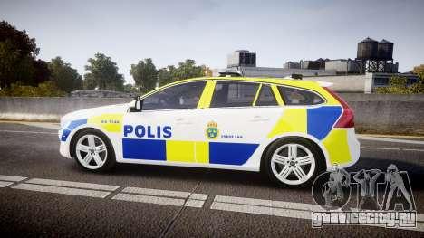 Volvo V60 Swedish Police [ELS] для GTA 4 вид слева
