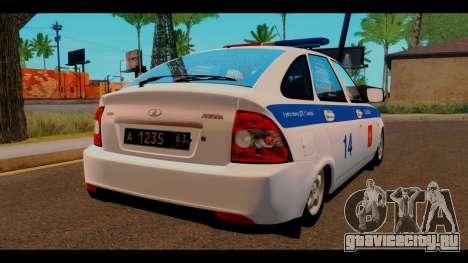 ВАЗ 2172 Police для GTA San Andreas вид сзади слева