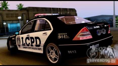 Mercedes-Benz C32 AMG Police для GTA San Andreas вид справа