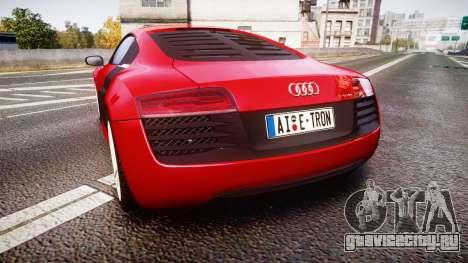Audi R8 E-Tron 2014 для GTA 4 вид сзади слева