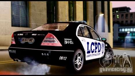 Mercedes-Benz C32 AMG Police для GTA San Andreas вид сзади слева