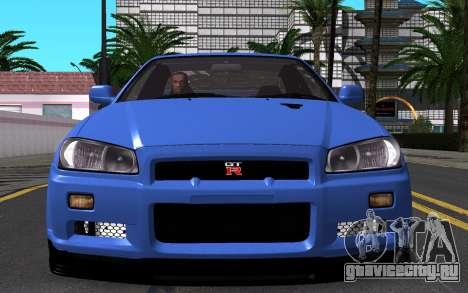 Nissan Skyline GT-R V Spec II 2002 для GTA San Andreas вид сверху