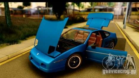 Pontiac Fiero GT G97 1985 HQLM для GTA San Andreas вид сзади