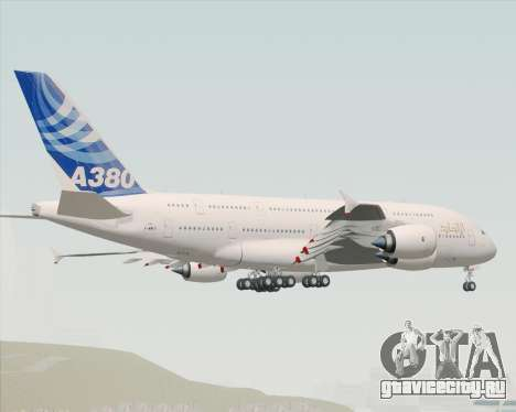 Airbus A380-800 F-WWDD Etihad Titles для GTA San Andreas вид сзади слева