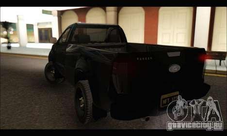Ford Ranger Cabina Simple 2013 для GTA San Andreas вид сзади слева